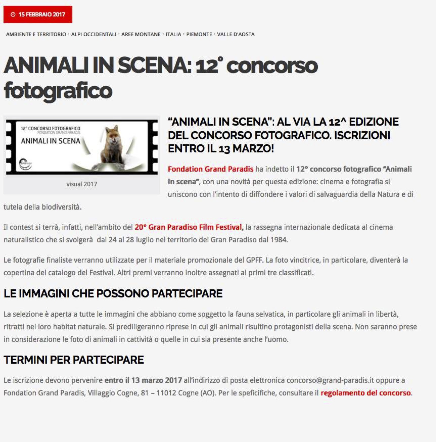2017-02-15 Mountainblog Animali in scena 12concorso fotografico