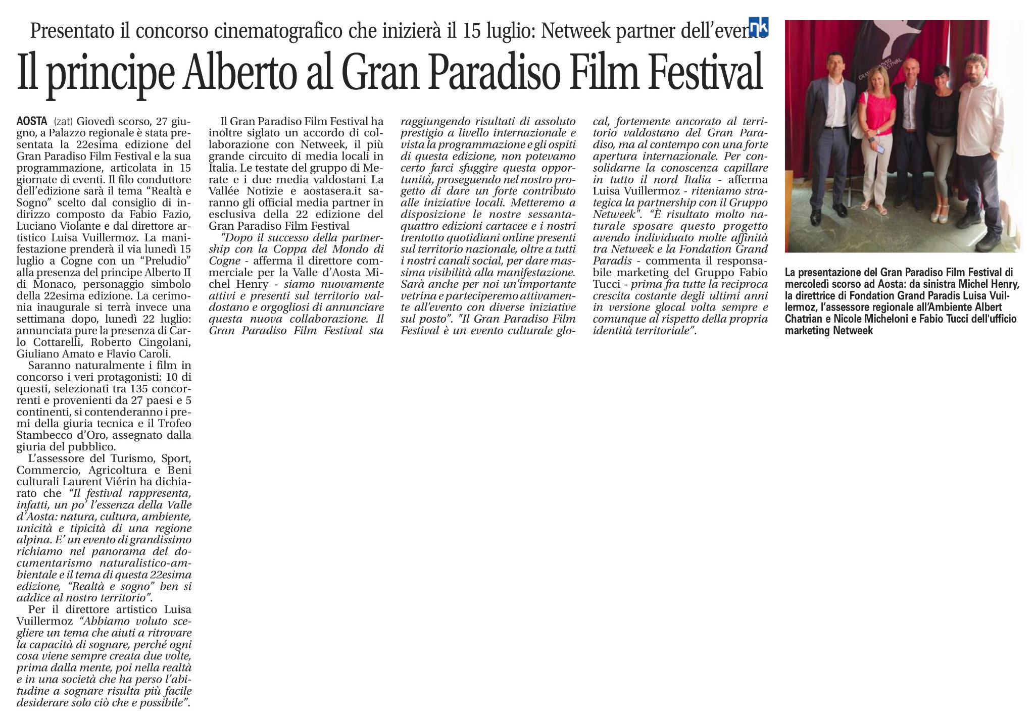 Il principe Alberto al Gran Paradiso Film Festival