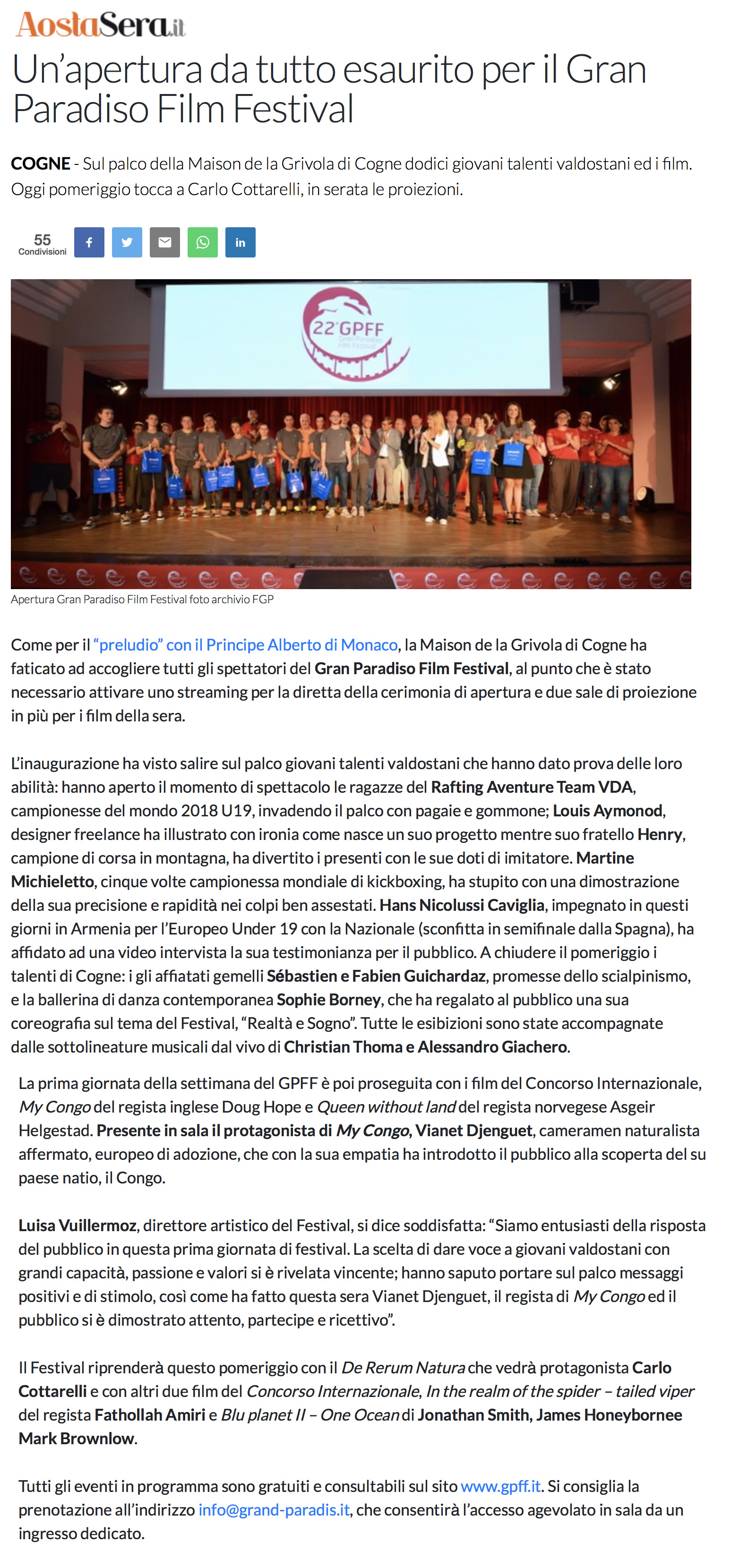 2019-07-22 AostaSera - Un apertura da tutto esaurito per il Gran Paradiso Film Festival