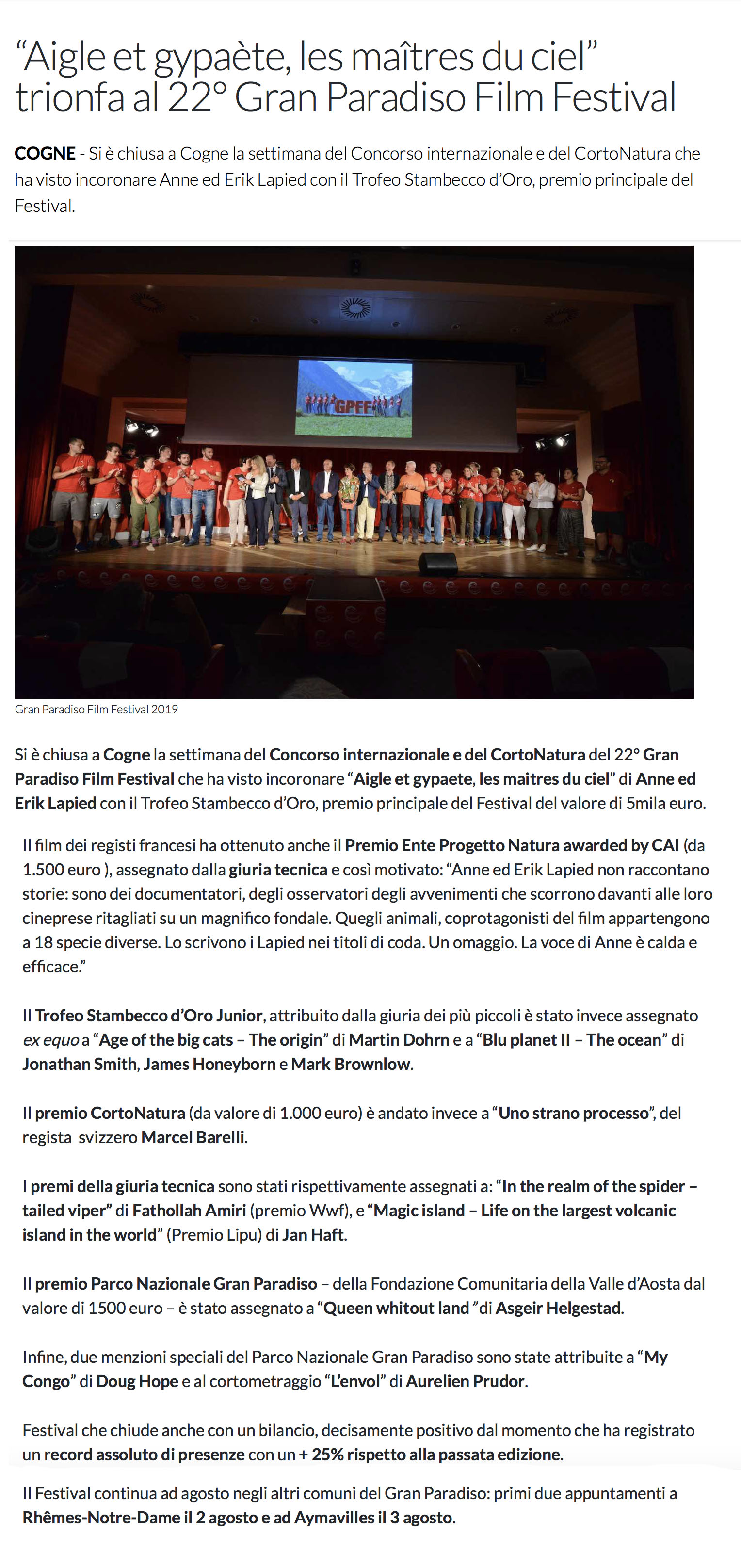 """""""Aigle et gypaète, les maîtres du ciel"""" trionfa al 22º Gran Paradiso Film Festival"""