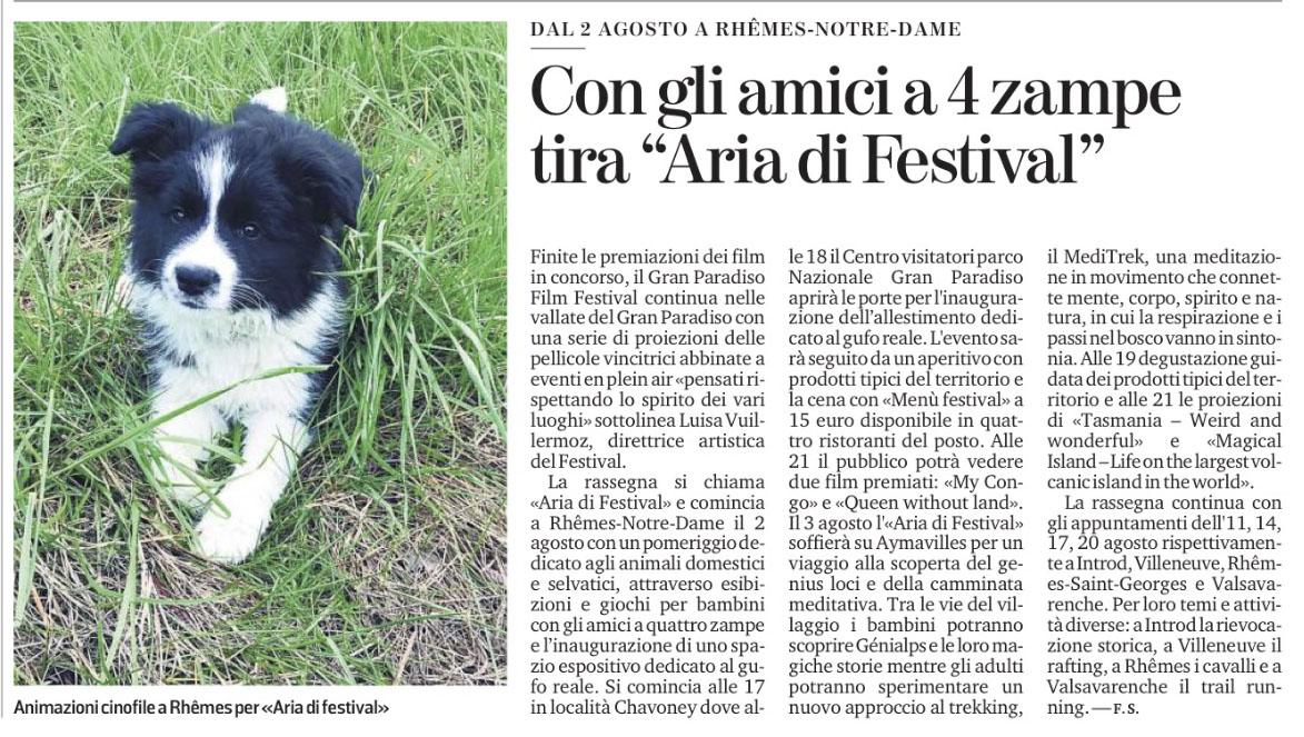 """Con gli amici a 4 zampe tira """"Aria di Festival"""""""