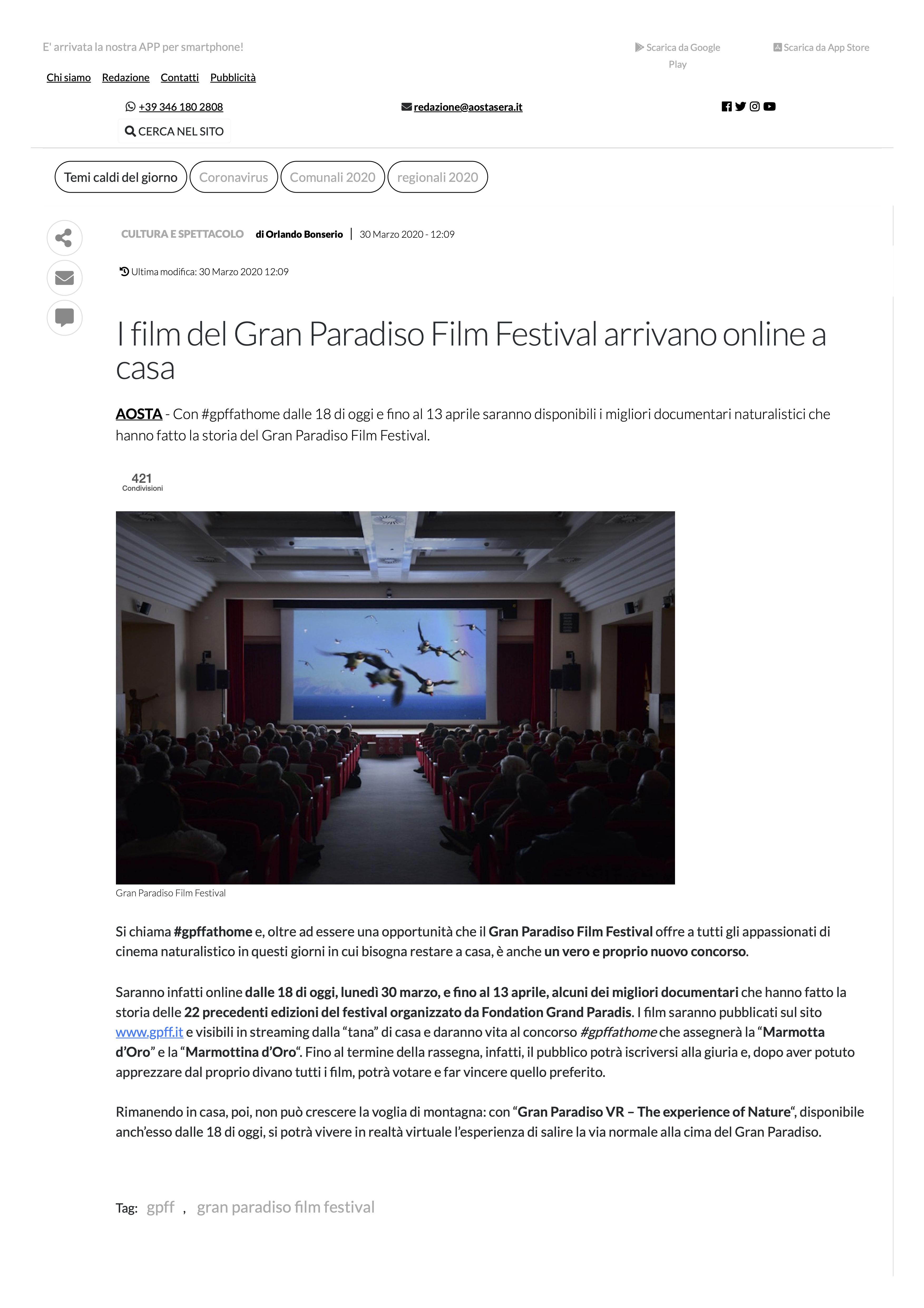 gpff gran paradiso film festival natura film festival gran paradiso documentari